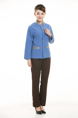 domestic task: Asian housekeeper standing on white background