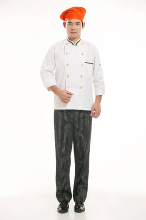 salesgirl: Wear all sorts of apron waiter standing in white background Stock Photo