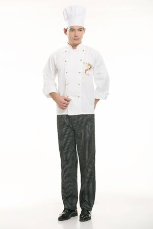 Wear all sorts of apron waiter standing in white background photo