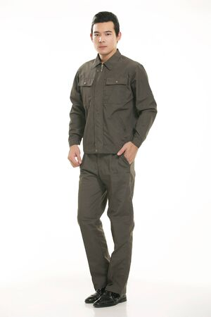 mechanician: The young engineer various occupation clothing standing on white background