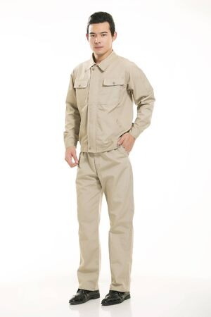 young engineer: The young engineer various occupation clothing standing on white background