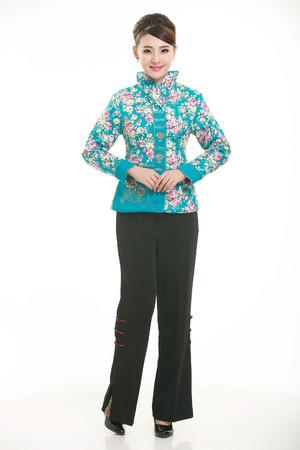cotton padded jacket: Wearing cotton padded jacket China lady on white background Stock Photo