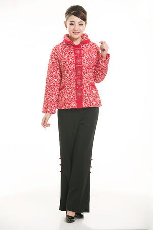 Wearing cotton padded jacket China lady on white background 版權商用圖片