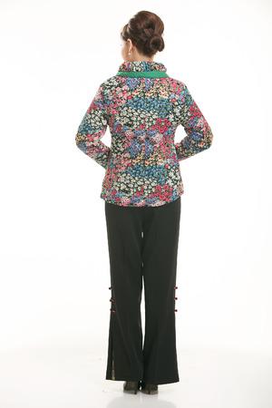 padded: Wearing cotton padded jacket China lady on white background Stock Photo