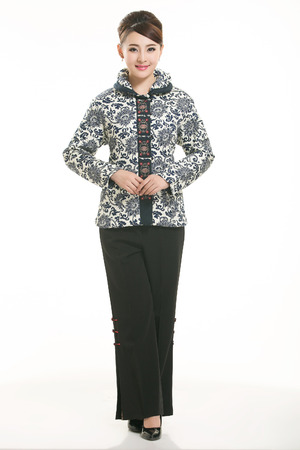 Wearing cotton padded jacket China lady in white background photo