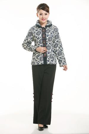 cotton padded jacket: Wearing cotton padded jacket China lady in white background Stock Photo