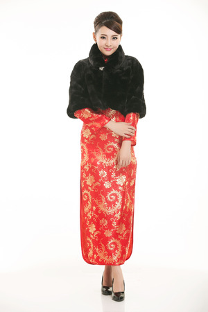 wadded: Wearing Chinese clothing waiter in front of a white background