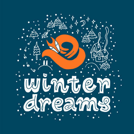 Winter illustration with sleeping orange fox, snow, trees and text Winter dreams on dark background for children's and New Year design postcard, banner, gift . Art vector for celebration and printshop Vettoriali