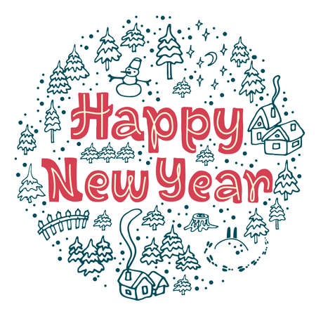 Happy New Year lettering with winter elements (snow, houses, trees) around, isolated on light background for postcard, banner, sticker, gift. Vector illustration for celebration and printshop