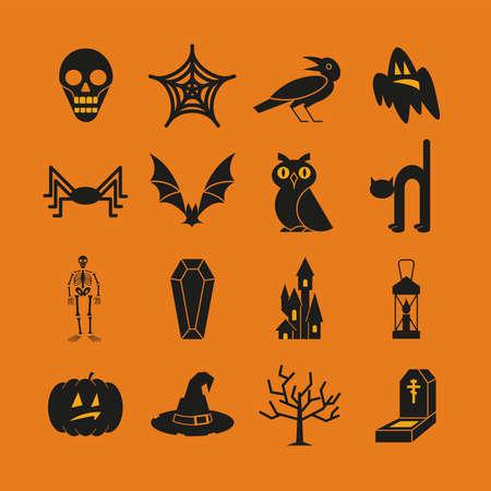 Halloween black icons set on orange background. Vector Illustration.