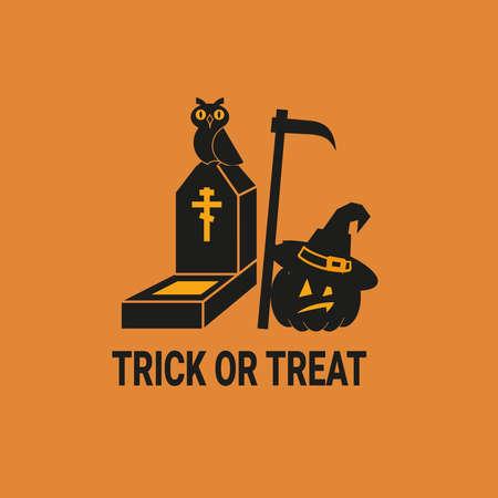 Halloween illustration with black silhouetes on orange background. Vector.