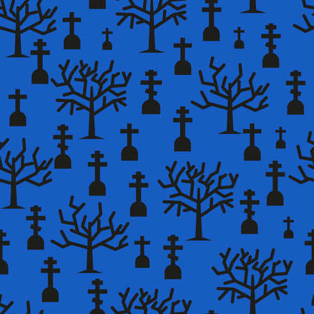 Halloween seamless pattern with graves and trees silhouettes on blue background. Vector Illustration.