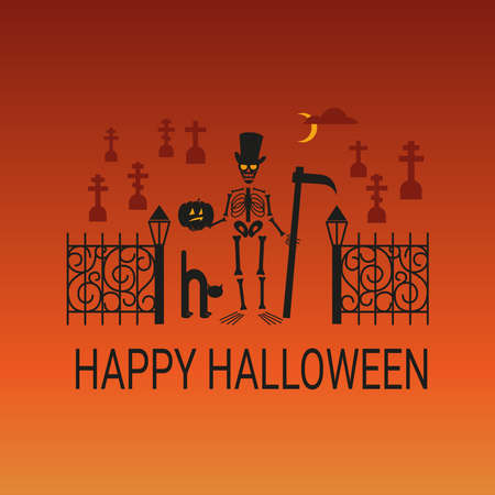 Halloween illustration with black silhouettes of skeleton and cemetery on blend orange background. Vector. Ilustracja