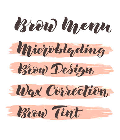 Hand written lettering Brow menu with name of services on pink brush background for flyer, web site, price list and decoration of beauty salon, brow bar. Vector illustration for beauty industry Ilustração