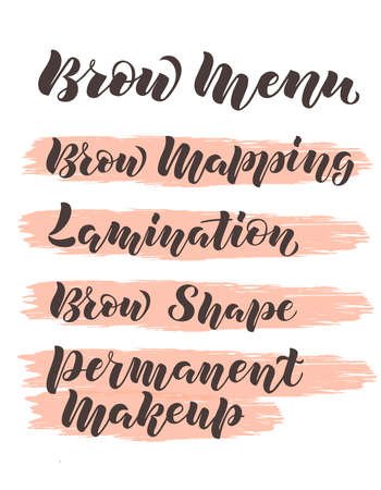 Hand written lettering Brow menu with name of services on pink brush background for flyer, web site, price list and decoration of beauty salon, brow bar. Vector illustration for beauty industry Vectores