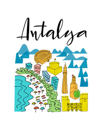 Set with elements of city sights of Antalya and Turkish symbols isolated on white background for banner, sticker, souvenirs, booklet. Hand drown vector illustration for travel agency, print shop.