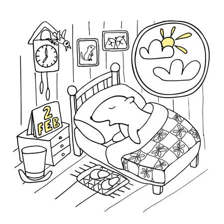 Funny illustration in doodle style for celebration Groundhog Day. Groundhog sleeping in a bed near window, isolated on white background. Hand drown vector illustration.