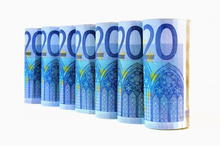 papermoney: 20 Euro banknotes in a row on white background  Stock Photo