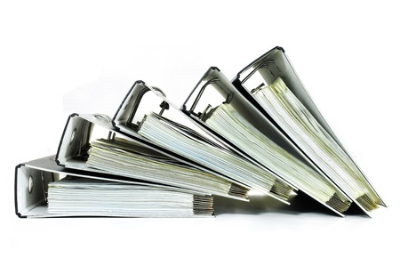 stack of documents: Pile of office ring binders with tax documents  Stock Photo