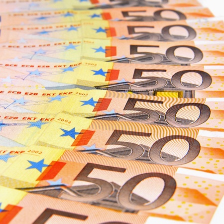 Close up of 50 Euro banknotes photo