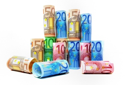 geld: Stack of various banknotes from 10 to 100 Euro  Stock Photo