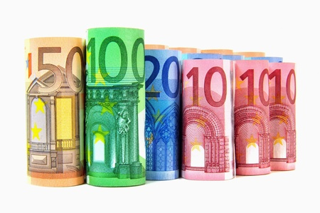 currency exchange: Currency - Rolled banknotes from 10 to 100 Euro