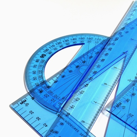 architect tools: Technical tools - Set of blue ruler, triangle and protractor on white background