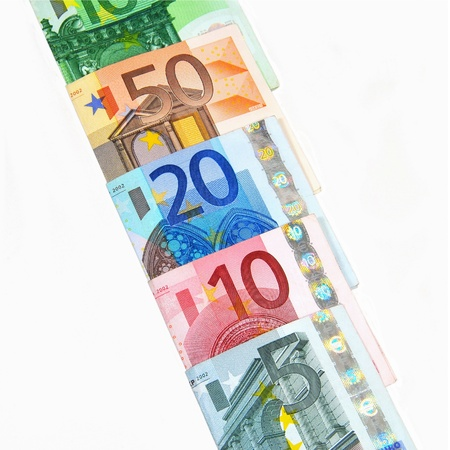 paper currency: Row of folded banknotes from 5 to 100 Euro