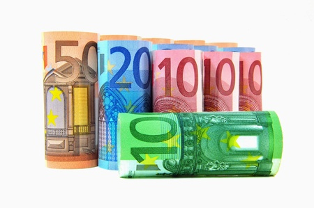 geld: Various banknotes from 10 to 50 Euro