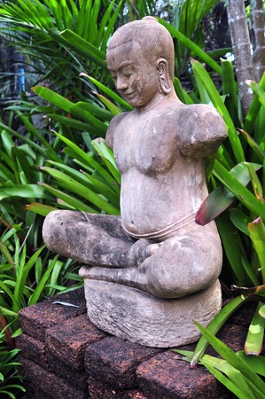 Buddha statue between plants and pottery  photo