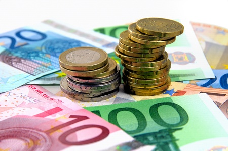 Euro Coins on banknotes Stock Photo