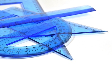 protractor: Engineering tools - Set of ruler, triangle and protracto Stock Photo