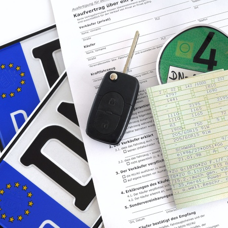 registration: Buying a used car Stock Photo