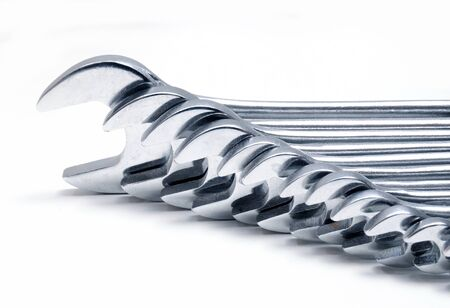 chrome vanadium: Row of spanners on white background
