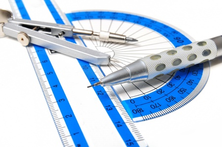 protractor: Group of mathematics geometry tools on white background Stock Photo