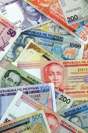 Stack of various banknotes from Philippines