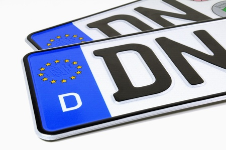 License plates on white background Standard-Bild
