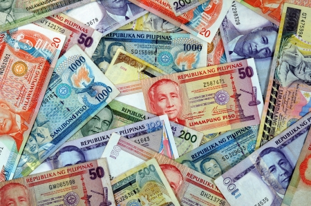 peso: Stack of various Philippine banknotes