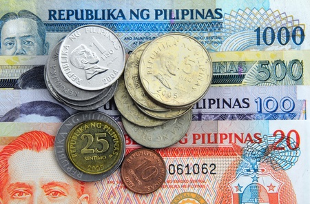 Filippijnen valuta - Bankbiljetten en munten Stockfoto