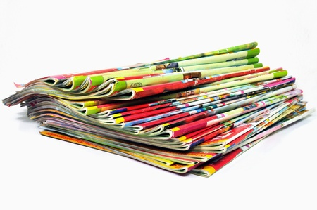 Stack of colorful magazines  photo