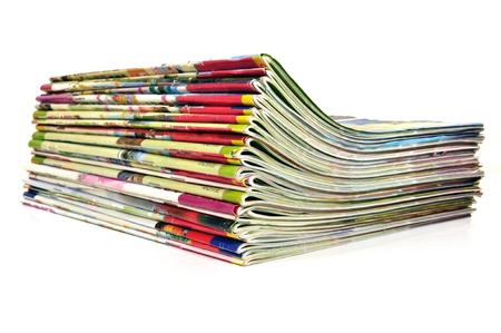 mag: Stack of colorful magazines  Stock Photo