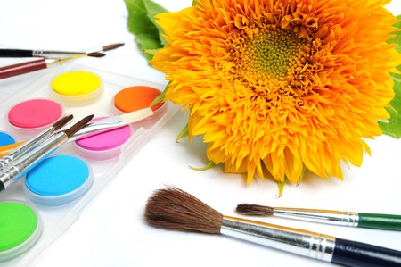 paintbox: Yellow sunflower blossom with watercolor paintbox Stock Photo