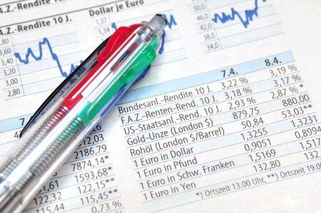 perdidas y ganancias: Bolígrafo en la parte superior de un informe de mercado de valores