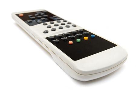 TV Remote Control over white background photo