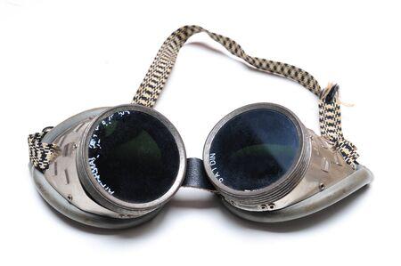 Gebruikt lasbril met vingerafdrukken