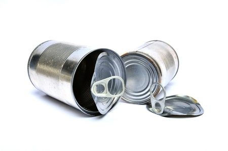 food waste: Two recycling cans on white background