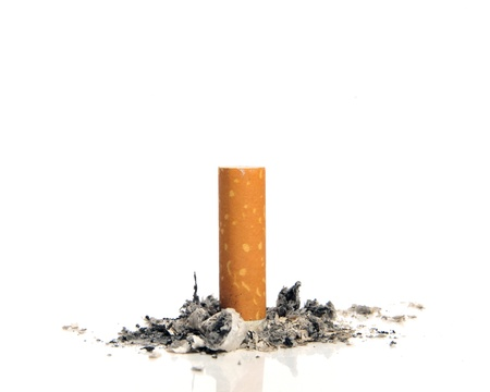 Stop smoking - Cigarette butt on white background  photo