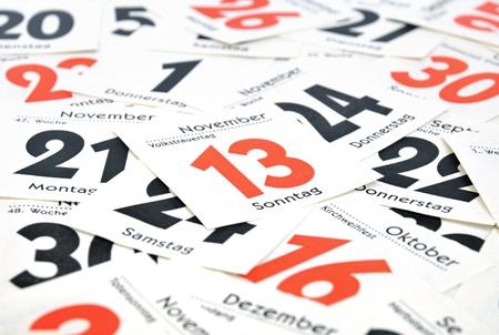weekdays: Calendar days