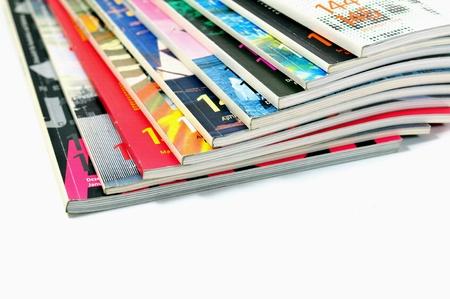 mag: Colorful magazines isolated on white background Stock Photo
