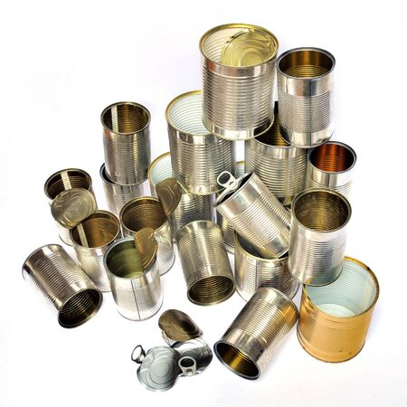 Group of recycling tins and cans on white background  photo
